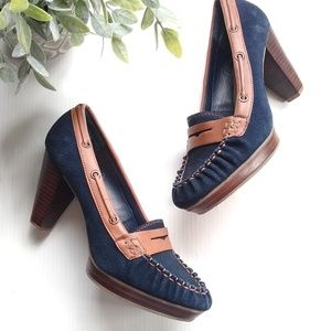 Tommy Hilfiger • suede leather heeled loafers